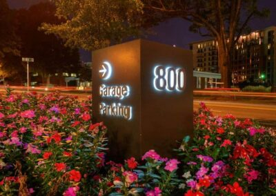 Outdoor signage at night