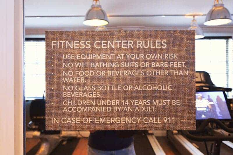 Fitness center signage on glass