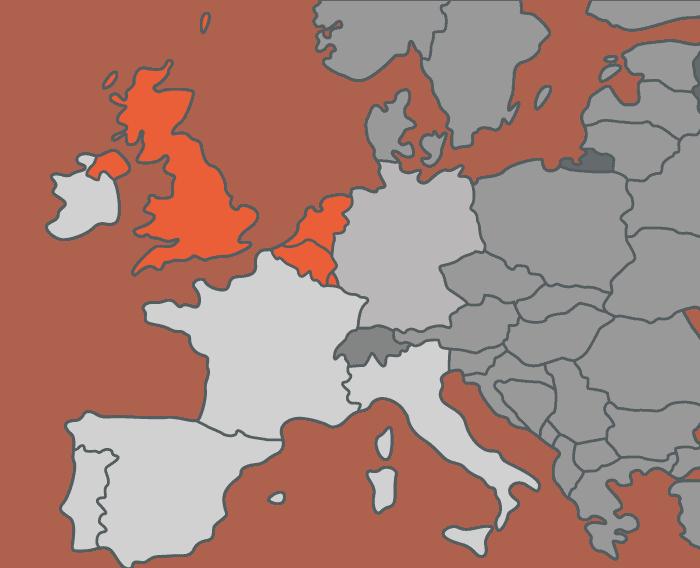 UK, Belgium, Holland, Luxembourg