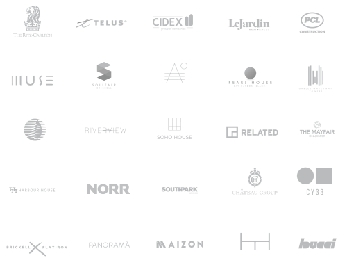 Greyscale portfolio of residential brands Modulex has worked with.