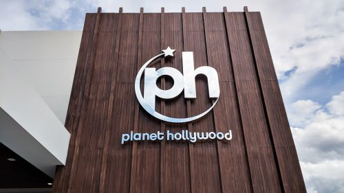 Planet Hollywood Signage located on outside of the building.